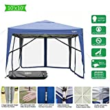 VINGLI EZ POP UP 10'x10' Outdoor Canopy Tent| Removable Mesh Sidewalls & Portable Rolling Carrying Bag, for...