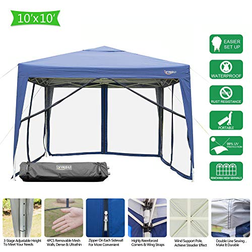 VINGLI EZ POP UP 10'x10' Outdoor Canopy Tent| Removable Mesh Sidewalls & Portable Rolling Carrying Bag, for Camping/Travel/Patio/Gazebo, Sun & Water Resistant