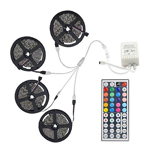 20m Tiras 600 LED 5050 SMD RGB Cortable Regulable Conectable Adecuadas para Vehículos Auto-Adhesivas Color variable IP44 Con Control remoto [Clase de eficiencia energética A] (Adaptador No Incluido)