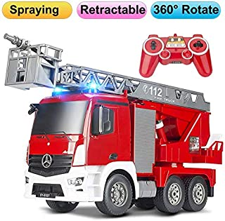 DOUBLE  E RC Fire Truck Remote Control Fire Engine 10 Channel with Water Pump Lights Sounds Extendable Ladder Rechargeable Battery 2.4GHz Radio Control