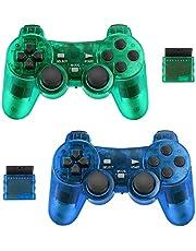 2-pack draadloze controller voor PS2 Playstation Achort 2.4G Gamepad Joystick Remote met Dual Shock Vibration Sensitive Control draadloze ontvangers Sony (ClearBlue en ClearGreen)