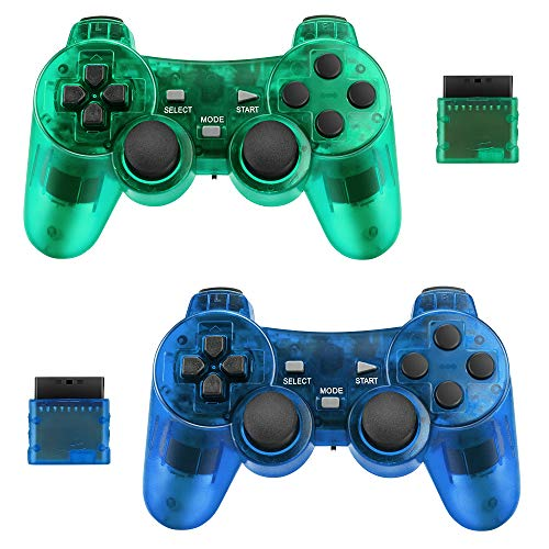 Achort 2er-Pack Wireless Controller für Sony PS2 Playstation 2.4G Gamepad Joystick Remote mit Dual Shock Vibration Sensitive Control Wirelless