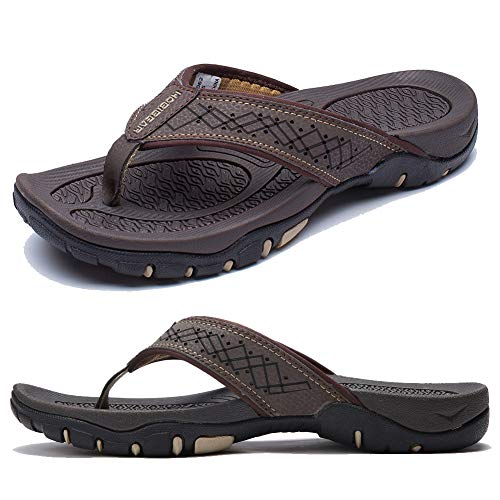 KIIU Flip Flops for Men Beach Sandals Outdoor Comfortable Slippers,Brown 44