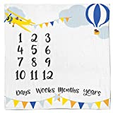 Baby Monthly Milestone Age Blanket - Boy + Girl Idea! First Days, Weeks, Months, Years. Large Photo Prop for Newborn, Infant, Or Toddler. Mom & Dad Keepsake. (Adventure Woodland)