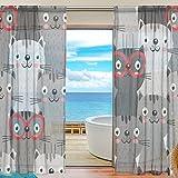 Yibaihe Fenster Vorhänge, Gardinen Katze Muster Modern Voile Platten Tüll Gardinen 198,1cm Lang für Wohnzimmer Schlafzimmer Fenster Decor Set von 2, Textil, Multi, 55' W x 84' L(140cm x...