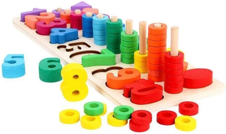 QNDYDB Früherziehung DREI-in-einem-Paar Kinderaufklrung 3-6 Jahre Alt Kindergarten Anzahl Bausteine Puzzle, Kinder Pdagogisches Spielzeug 14,5x39,5 cm
