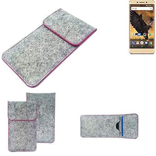 K-S-Trade Handy Schutz Hülle Für Allview P8 Pro Schutzhülle Handyhülle Filztasche Pouch Tasche Hülle Sleeve Filzhülle Hellgrau Pinker Rand