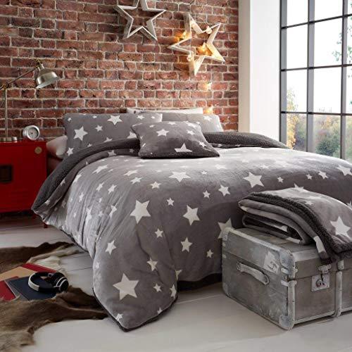 CT Star Pattern Teddy Fleece Duvet Cover Sets Super Soft Warm Cosy Reversible Bedding Sets (Grey, Double Duvet Set)