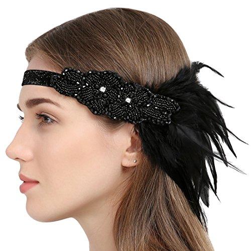 FAYBOX BRIDAL Vintage 1920 Jahre Flapper Stirnband Strass Perlen Kopfschmuck mit Schwarzer Feder
