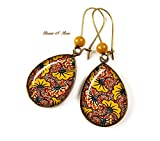 Boucles d'oreilles wax gouttes Fleurs jaune moutarde africain tissu wax motifs Ethniques