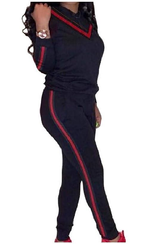 目の前のドキドキドループRomancly 女性リボンフード付きスプライスロングスリーブトップとスウェットパンツの衣装