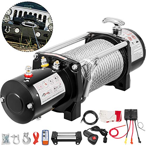 OldFe Elektrische Seilwinde 26 M Funkfernbedienung, Elektrische Winde 12V Tragfähigkeit 5909 kg mit Zubehör für Auto Modellbau
