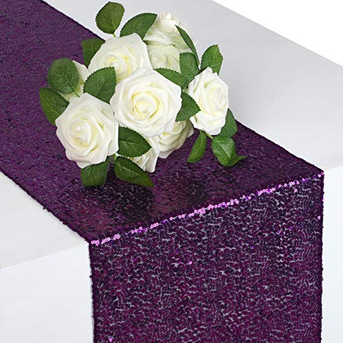 Syntus Sequin Table Runner Purple, 2 Pack 12 x 108 inches Glitter Purple Table Runner Rectangle for Graduation Party Supplies Decorations Wedding, Birthday & Baby Shower