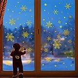 decalmile Grande Pegatinas de Pared Copos de Nieve Vinilos Decorativos Navidad Adhesivos Pared Ventanas Puerta Tienda Escaparate Navidad Decoración(Oro)