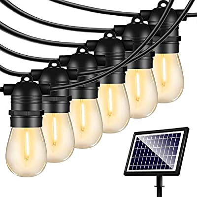 Solar String Lights Outdoor - Shatterproof Vintage Edison Bulbs & 4 Light Mode Weatherproof 27FT Strand -LED String Lights Solar Patio Lights for Backyard Patio Porch Café