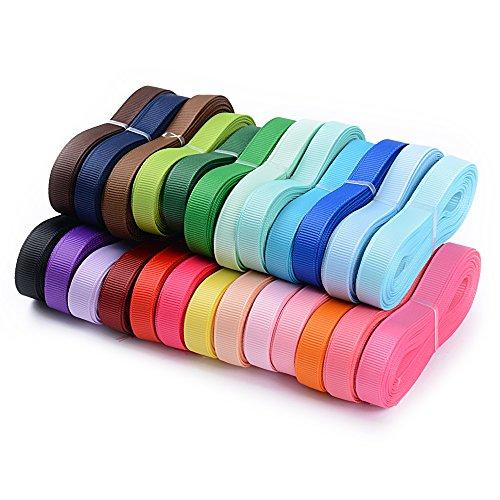 Lot de 6mm / 9mm / 22mm / 25mm Ruban Gros-grain Décoratif Polyester Ruban Biais Multicouleur Décoration Loisirs Créatif Mariage Artisanat DIY (17/24 / 25 couleur)