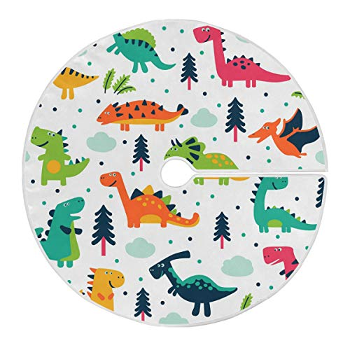 ALARGE Christmas Tree Skirt Funny Animal Dinosaur Tree 35.4 Inch Soft Xmas Tree Mat for Christmas New Year Holiday Party Indoor Outdoor Decor Ornament