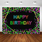 Avezano Neon Glow Birthday Party Backdrop 5x3ft Glow in The Dark Confetti Dots Happy Birthday Party Banner Photography Background Let's Glow Dance Birthday Photo Booth Backdrop