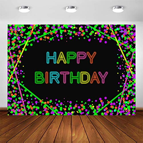 Avezano Neon Glow Birthday Party Backdrop Glow in The Dark Confetti Dots Happy Birthday Party Banner Photography Background Let's Glow Dance Birthday Photo Booth Backdrop (5x3ft)