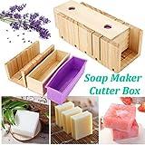 RoseFlower Taglierina di Sapone, Legno Handmade Soap Kit Soap Cutter + Rettangolo Sapone Stampi in Silicone con Scatola di Legno