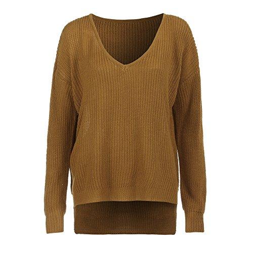 Deelin dames sexy mode casual V-hals, oversize, losse kleur, lange mouwen, gebreid, truien, top, blouse
