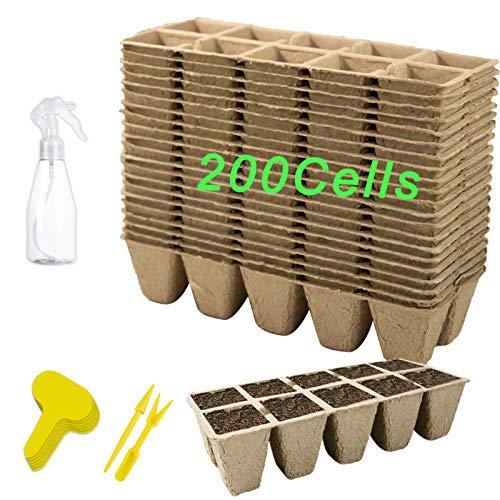 200Cells Seedling Start Trays 20Pack Peat Pot Seedling Pot Biodegradable Seed Starter Kit Organic...