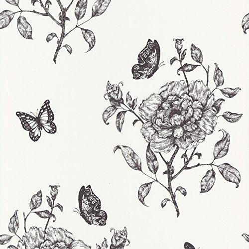 Caselio 67839100 Papel pintado con flores y mariposas román