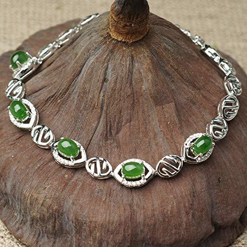 Laogg Pulsera Mujer Jade,Pulseras De Jade Natural con Incrustaciones De Plata De Ley 925 con Pulsera De Jaspe Hetiano