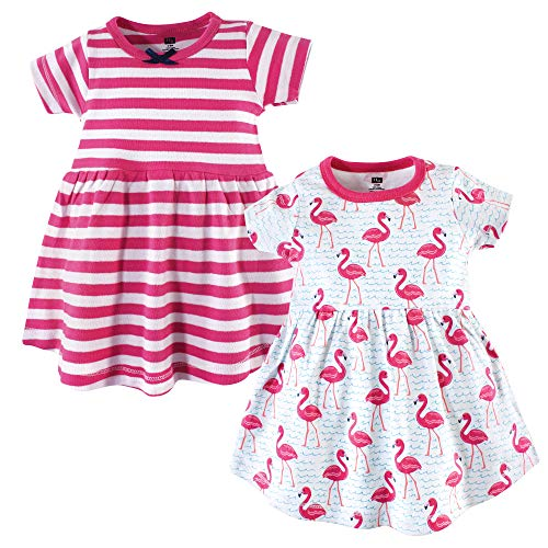 Hudson Baby Girl's Cotton Dresses, Bright Flamingo, 2 Toddler