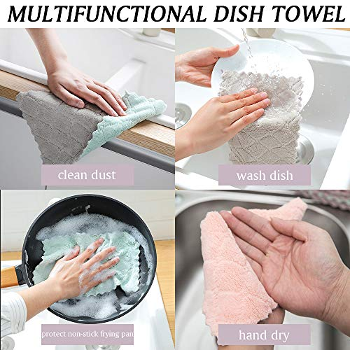 Bicolor Kitchen Towels, Absorbent Thick Coral Velvet Dish Rags, Fast Drying Dish Towels