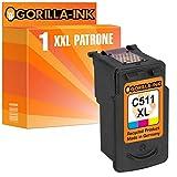 Gorilla-Ink 1 cartucho de tinta para Canon CL-511 XL, 1 cartucho de color, 15 ml de contenido XXL.