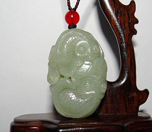 JL 4,8 cm Chine Certifié Nature Hetian Jade néphrite Double Richesse Poisson Collier Pendentifs