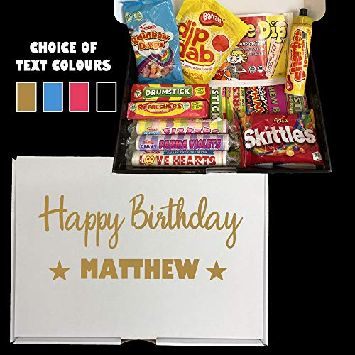 Personalised Happy Birthday Sweet Hamper Gift Idea Prime Next Day Last Minute Present Boyfriend Brother Mum Dad
