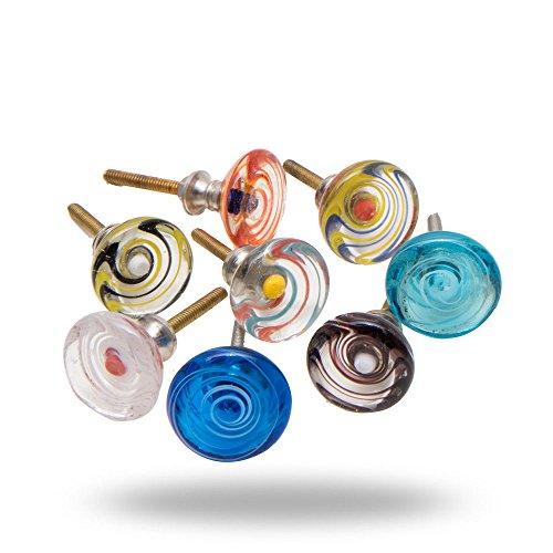 Set of 8 Glass Spiral Cabinet Drawer Knob Handmade Drawer Kitchen Cupboard Pull Dresser Door Handle by Trinca-Ferro