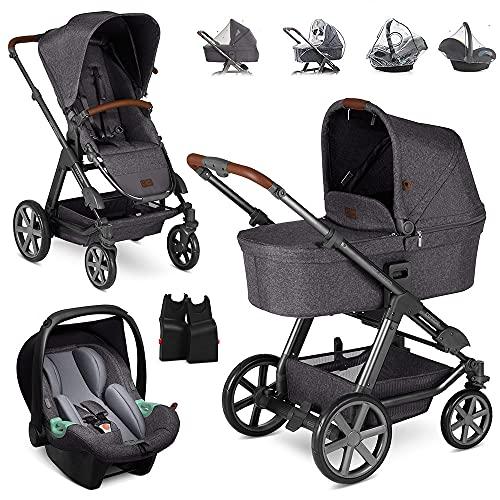 ABC Design 3in1 Kinderwagen Set Condor 4 inklusive Babyschale Tulip und Zubehör - Babywanne, Sportwagen, Autoschale und Adapter - Street Grau