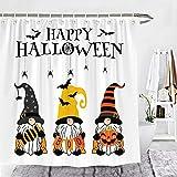 Wencal Happy Halloween Gnomes Duschvorhang Candy Boo Kürbis Bauernhaus Badezimmer Dekor mit Haken 183 x 183 cm