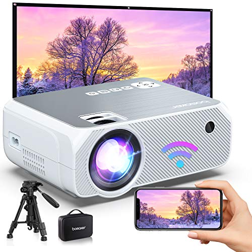Bomaker 2021 Upgraded Native HD WiFi Mini Projector, Native 1280x720P and 300 Inch Picture,Wireless Portable Outdoor Movie & Gaming WiFi Projector, for Android/ TV Stick/ Laptop/ PS4/ iPhone- White