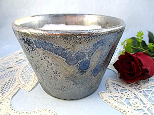 Kerzenfresser Keramik Indoor silber-blau, 11x 7,5 Wachsfresser für innen, Schmelzlicht, Tischfeuer, zum Schmelzen von Kerzen- und Wachsresten, mit nicht brennbarem Glasfaserdocht, reine Handarbeit