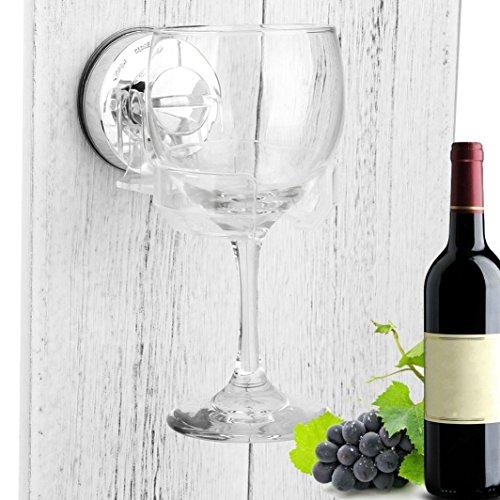 Solike Weinglas Halterung Saugnapfhalter Weinglashalter,Bad & Dusche Tragbare Absaugung Cupholder Caddy für Bier & Wein Sucker Cup Safer Stemware Stabilizer, 1ST