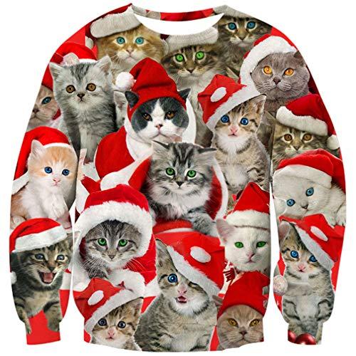 Goodstoworld Disfraz de Navidad Mujer Hombre 3D Cat Christmas Sweater Ropa Divertida Elfo Impreso Jerseys Traje Navideño M