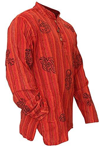 SHOPOHOLIC FASHION - Camisa ligera hippy con diseño de rayas, color azul, para abuelos Nuevo granate 4XL