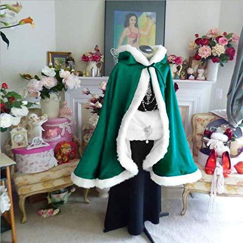 EYIIYE Women Girl Christmas Cloak Mrs Santa Claus Cloak Xmas Costume Velet Cloak Cape (Green, one Size)