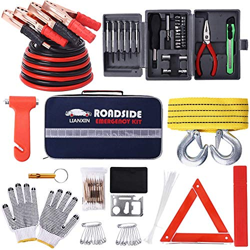 LIANXIN Car Kits Emergency - Multifunctional Highway Emergency Kit,Jumper Cables Set 8.3 FT is Suitable for All Cars