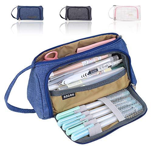 Estuche de gran capacidad, estuche para lápices, bolsa de lápices, bolsa de lápices, bolsa de lápices, bolsa de maquillaje, con soporte, organizador para el colegio y la oficina (azul)