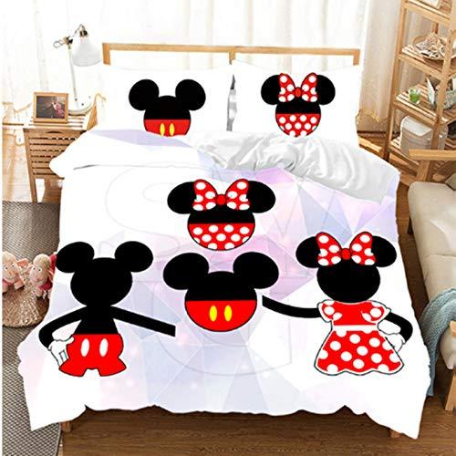 BATTE Disney Mickey Minnie - Juego de funda de edredón para niñas (microfibra, impresión digital 3D, 140 x 210 cm)