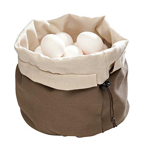 APS sac à pain beige-brun avec coussin chauffant avec billes en céramique et cordon de serrage en coton, réutilisable, peut également être utilisé pour les petits pains, les œufs etc, Ø 19,0 cm