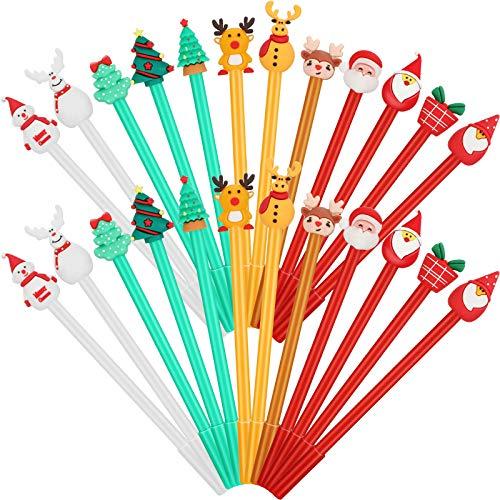 24 Pieces Christmas Rollerball Pens Christmas Cartoon Gel Ink Pens Christmas Characters Stick Pen for Kids School Office Home Use, 12 Styles Christmas Reindeer, Snowman, Tree, Santa Claus, Bear