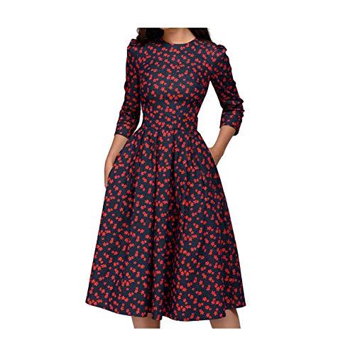 iHENGH Damen Frühling Sommer Rock Bequem Lässig Mode Kleider Frauen Röckemode ärmellose Spitze Chiffon Rundhals langes Partykleid(Marine, 2XL)
