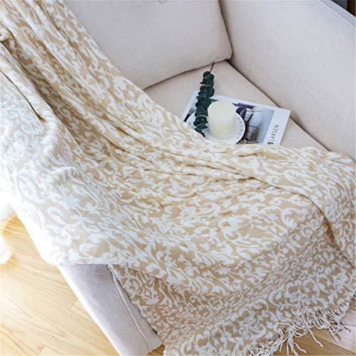 Manta de punto retro estilo pastoral sofá suave acogedor liviano lanzar una manta de tejido para silla de cama Travel viajes