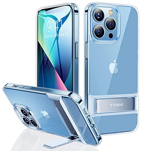 TORRAS MoonClimber Series für iPhone 13 Pro Hülle mit Ständer (3 Ständer-Wege) Vergilbungsfrei Praktisch iPhone 13 Pro Hülle Stoßfestigkeit Handyhülle iPhone 13 Pro Schutzhülle Transparent